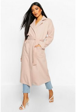Womens Blush Stripe Belted Wool Look Coat
