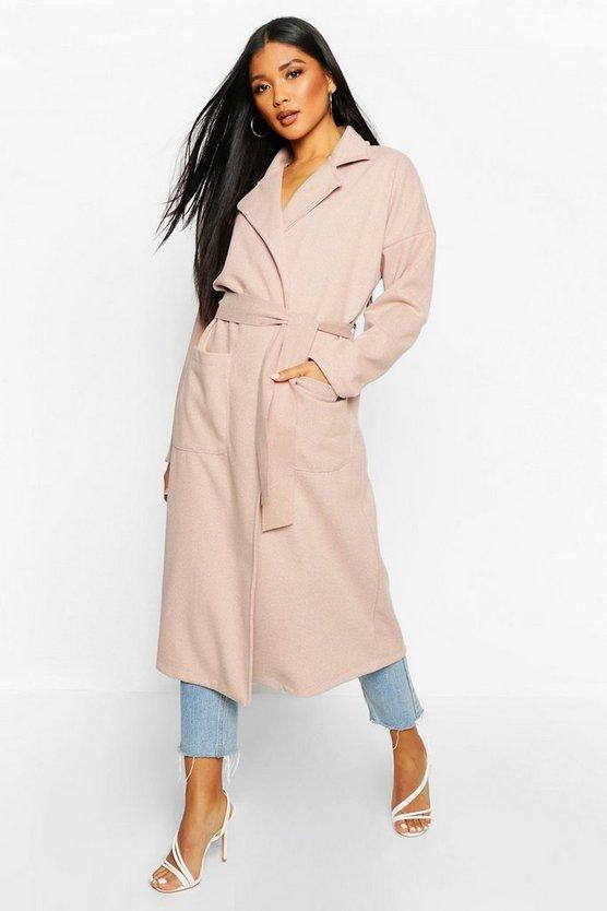 Stripe Belted Wool Look Coat
