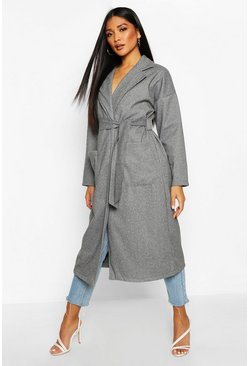 Grey Stripe Belted Wool Look Coat