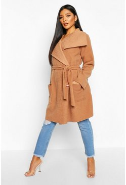 Womens Camel Brushed Wool Look Belted Coat