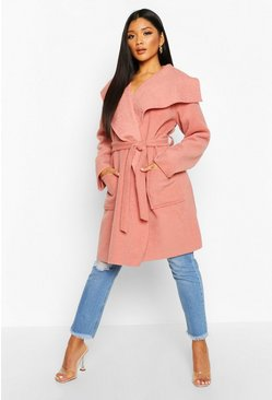 Dusky pink Brushed Wool Look Belted Coat