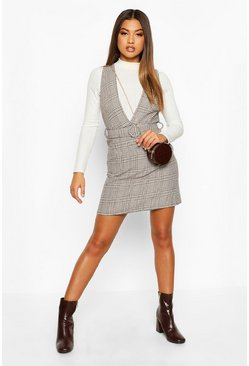 Womens Black Tonal Check Self Belt Pinafore Dress