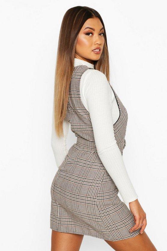 Tonal Check Self Belt Pinafore Dress