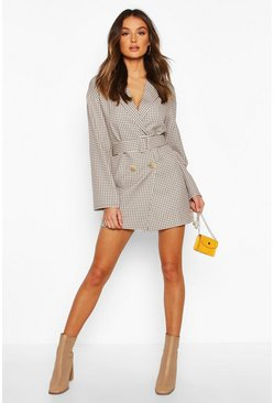 Check Self Belt Blazer Dress, Cream, MUJER