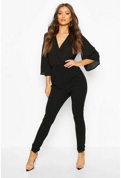 Womens Black Chiffon Top Jumpsuit
