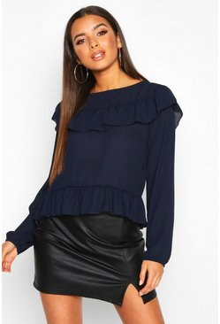 Womens Navy Frill Blouse