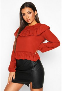 Womens Rust Frill Blouse