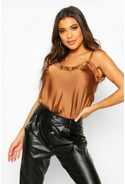 Womens Rust Frill Satin Cami