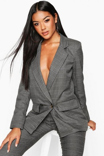 Womens Grey Double Breasted Check Blazer