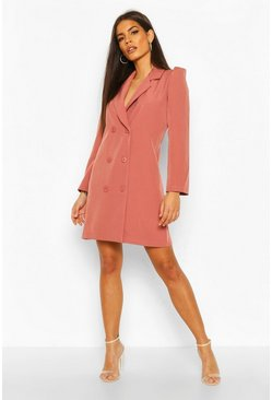 Womens Rose Puff Sleeve Double Breasted Dress