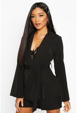 Womens Black Split Sleeve Belted Blazer