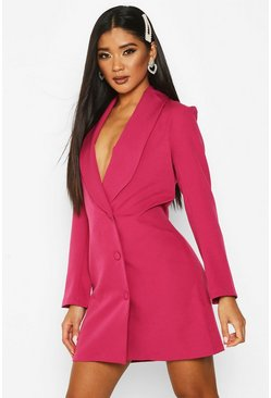 Womens Hot pink Button Down Longline Blazer Dress