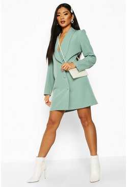 Womens Sage Button Down Longline Blazer Dress