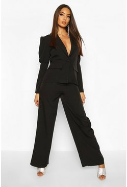 Womens Black Wide Leg Tailored Trouser