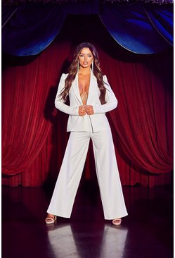 Womens White Wide Leg Tailored Trouser