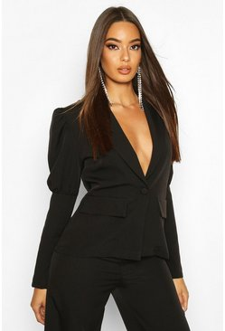 Womens Black Puff Sleeve Tailored Blazer