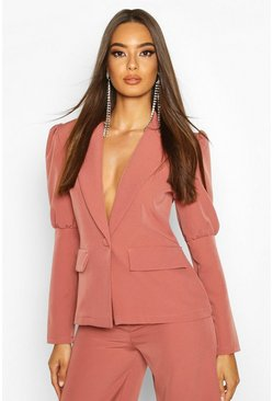 Womens Rose Puff Sleeve Tailored Blazer