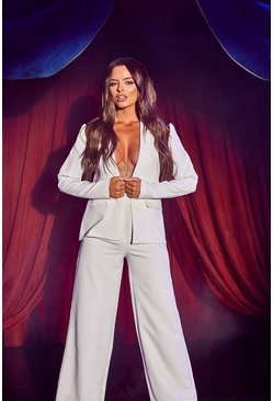 Womens White Puff Sleeve Tailored Blazer