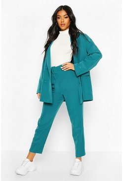 Womens Teal Wide Buckle Belted Straight Tapered Trousers