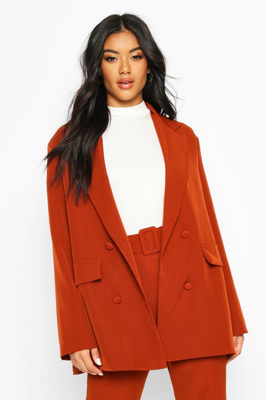 70s Jackets & Hippie Vests, Ponchos Womens Oversized Tailoring Blazer - orange - 10 $67.00 AT vintagedancer.com