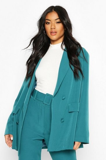 Womens Teal Oversized Tailoring Blazer