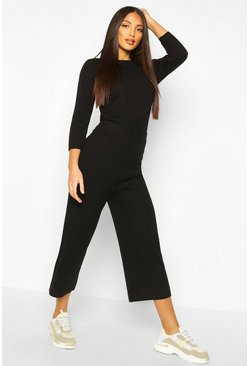 Black Ribbed Knitted Culotte & Top Set