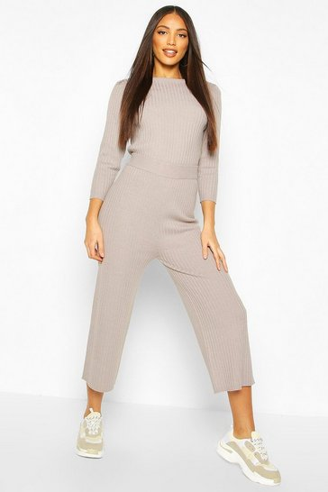 Grey Ribbed Knitted Culotte & Top Set