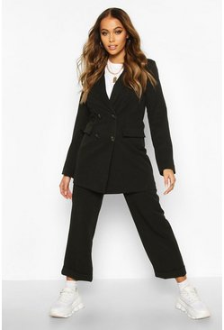 Black Double Breasted Longline Blazer