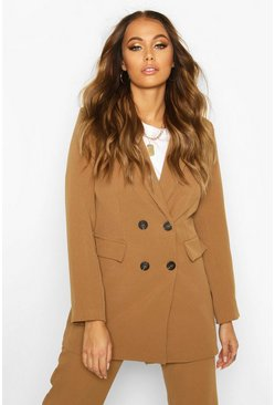 Womens Camel Double Breasted Longline Blazer