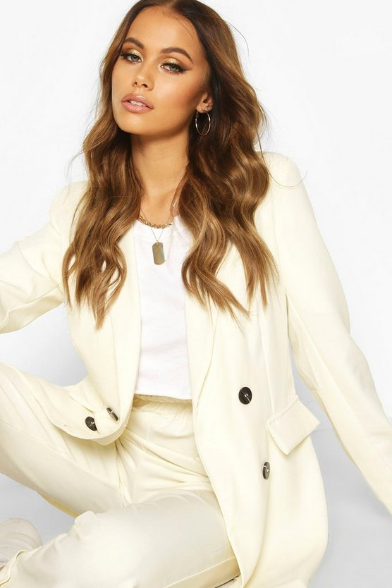 White Double Breasted Longline Blazer