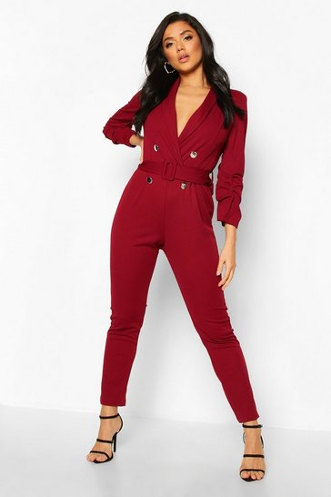 Womens Berry Tailored Self Belt Jumpsuit