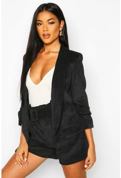 Womens Black Ruched Sleeve Cord Blazer