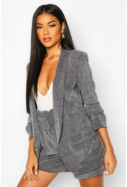 Womens Grey Ruched Sleeve Cord Blazer