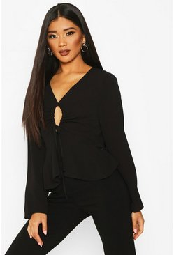 Womens Black Keyhole Tie Front Blouse