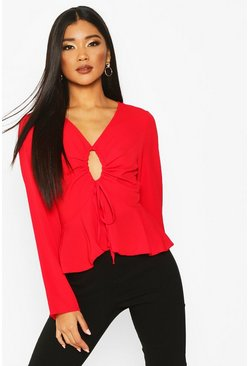 Womens Red Keyhole Tie Front Blouse