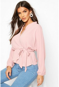 Womens Blush Frill Neck Wrap Over Blouse