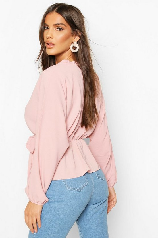 Frill Neck Wrap Over Blouse