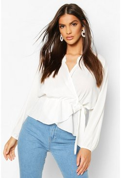 Ivory Frill Neck Wrap Over Blouse