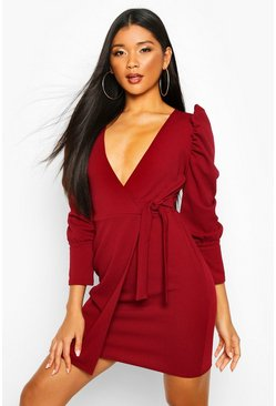 Womens Berry Puff Shoulder Tie Side Wrap Dress