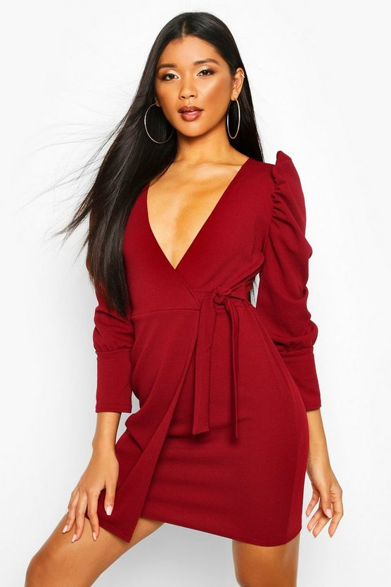 Puff Shoulder Tie Side Wrap Dress