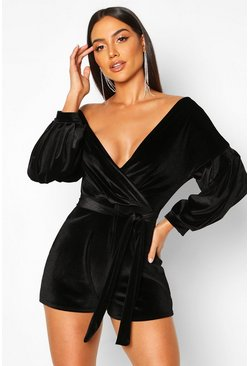 Black Bardot Wrap Front Velvet Playsuit