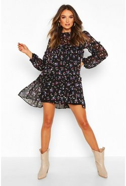 Womens Black Ditsy Floral Oversized Tiered Smock Dress