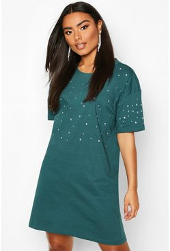 Womens Teal Diamonte Oversized T-Shirt Dress