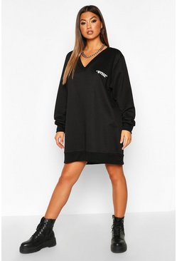 Womens Black Bye Pocket V-neck Sweatshirt Dress