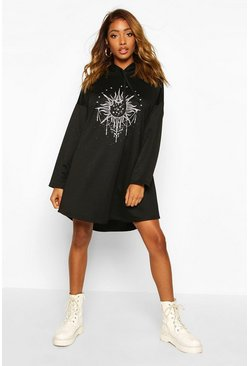 Womens Black Solar Graphic Hooded Swing Sweatshirt Dress