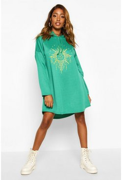 Womens Green Solar Graphic Hooded Swing Sweatshirt Dress