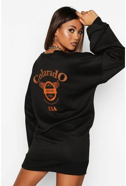Black Colarado Graphic Extreme Sleeve V-neck Sweatshirt Dress