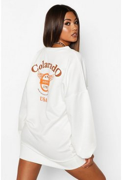 White Colarado Graphic Extreme Sleeve V-neck Sweatshirt Dress
