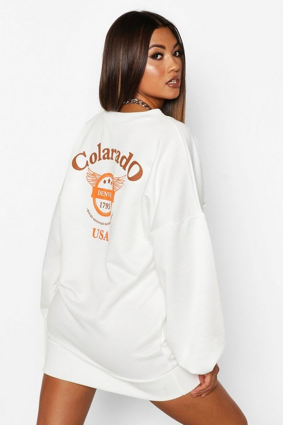 Colarado Graphic Extreme Sleeve V-neck Sweatshirt Dress