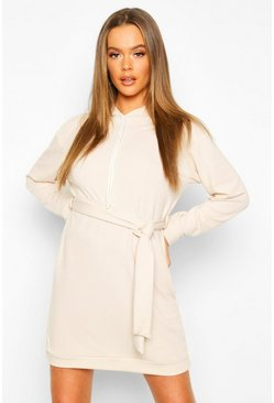Womens Stone Sweat Hooded Belted Sweat Dress